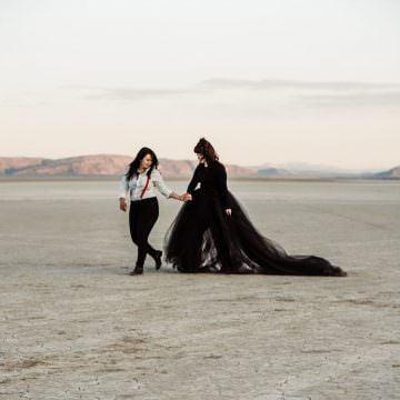 Burning Man Elopement, Alvord Desert, Adventure elopement photographer, black wedding dress, oregon, pacific northwest, desert wedding