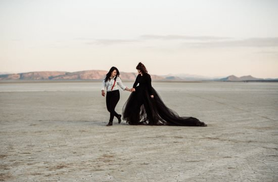 Alvord Desert, Adventure elopement photographer, black wedding dress, oregon, pacific northwest, desert wedding