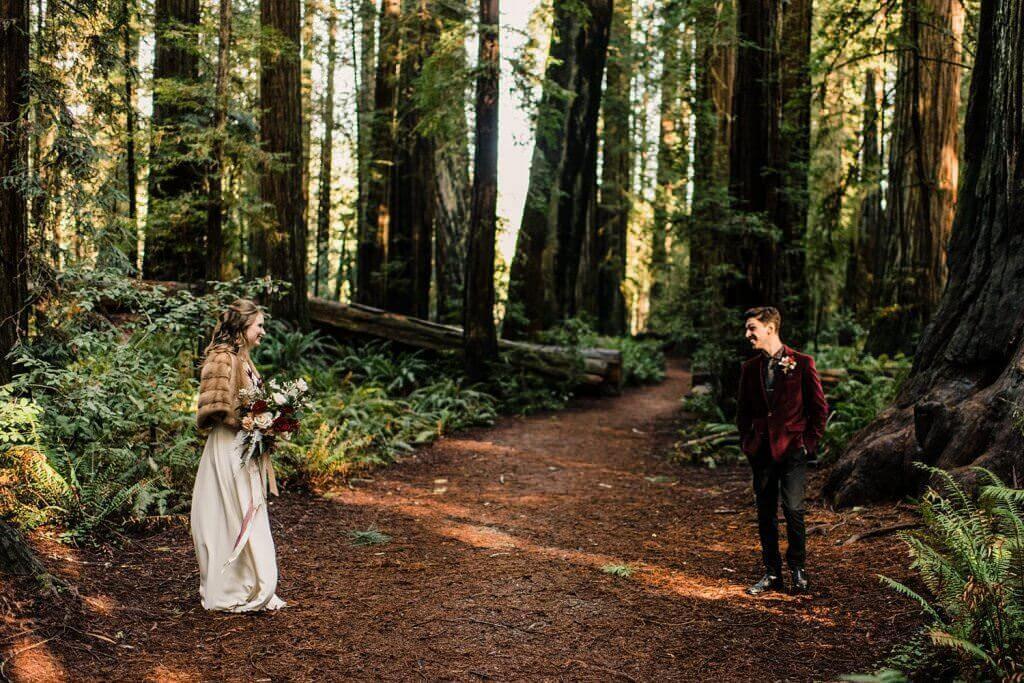 redwoods elopement, first look, adventure elopement