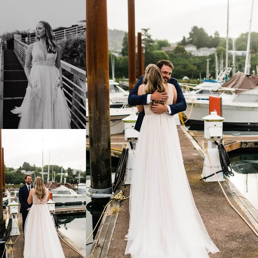 oregon coast elopement, first look, adventure elopement photographer